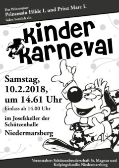 "Marsberger Kinderkarneval am 10. Februar ""Auffer Halle"""