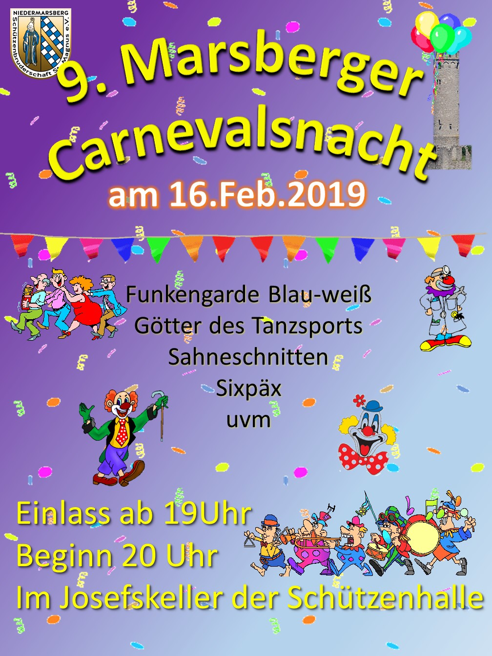 Marsberger Carnevalsnacht am 16. Februar im Josefskeller